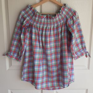 Kate Spade Off The Shoulder Madras Top Size XS